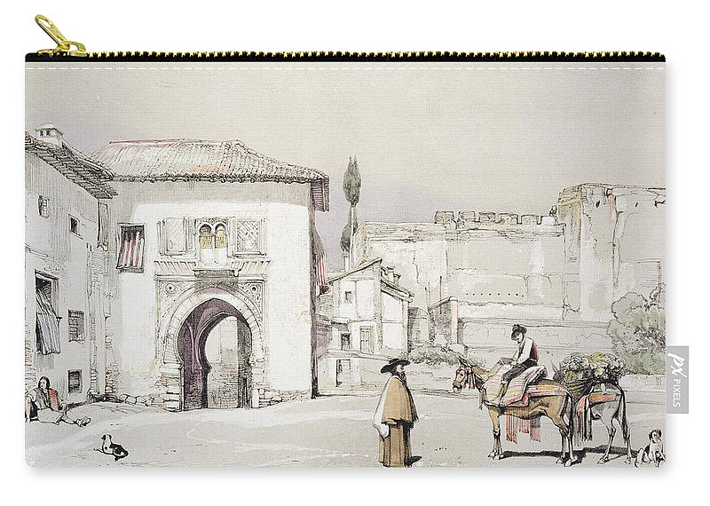 14th Century Gateway Carry-all Pouch featuring the drawing Gate Of The Vine , From Sketches by John Frederick Lewis