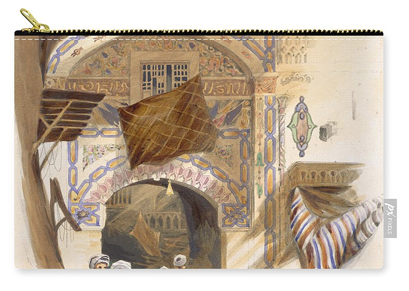 Print Carry-all Pouch featuring the drawing Gateway Of A Bazaar, Grand Cairo, Pub by A. Margaretta Burr