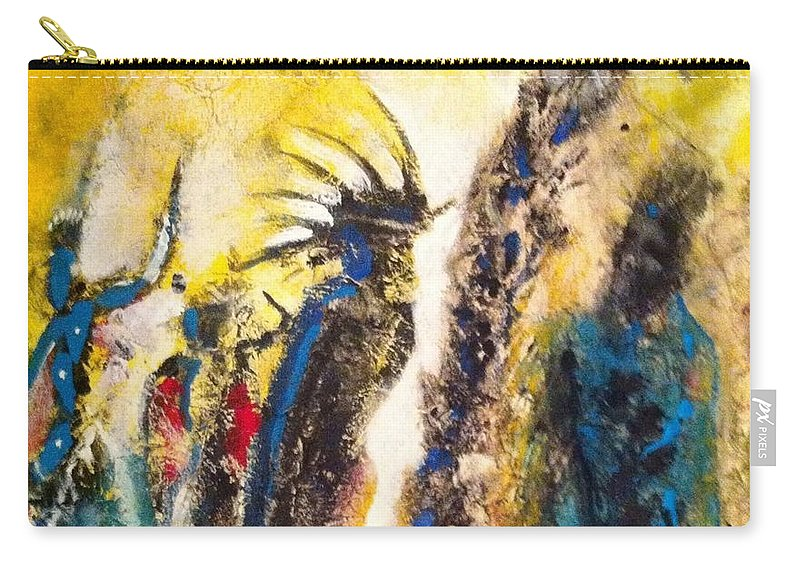 Native American Carry-all Pouch featuring the painting Gathering 2 by Kicking Bear Productions