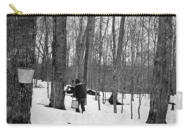 1890 Carry-all Pouch featuring the painting Gathering Sap, C1900 by Granger