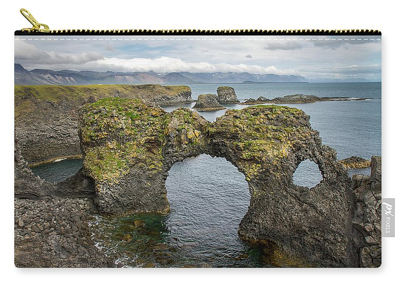 Iceland Carry-all Pouch featuring the photograph Gatklettur Arch In Hellnar by For Ninety One Days