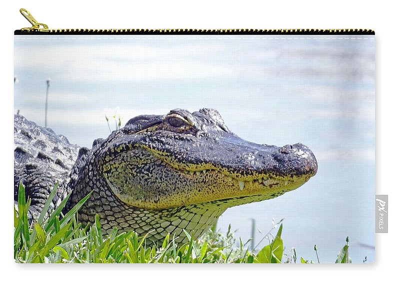 Alligator Carry-all Pouch featuring the photograph Gator Smile by Lizi Beard-Ward