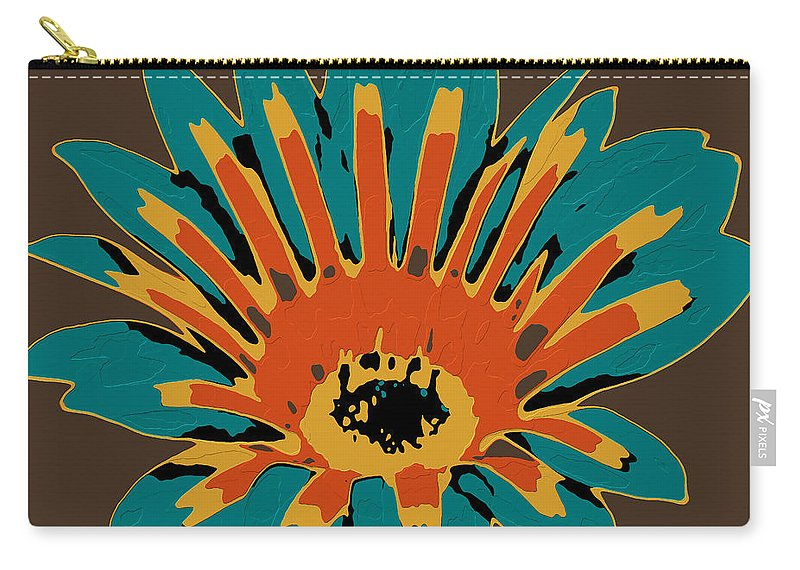 Flower Carry-all Pouch featuring the digital art Gazania by Dragica Micki Fortuna