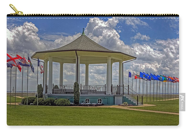 Casemate Carry-all Pouch featuring the photograph Gazebo At Fort Monroe by Jerry Gammon