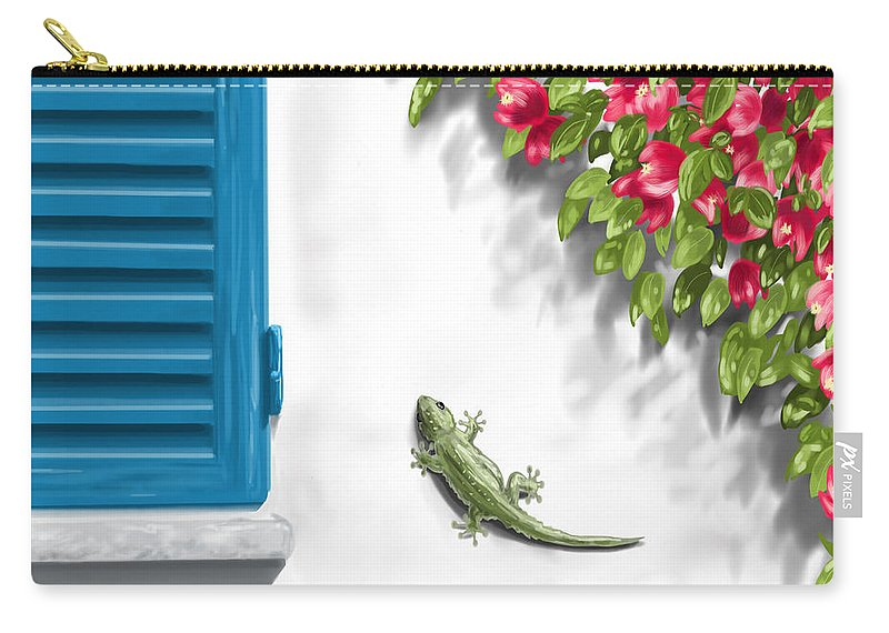 Digital Carry-all Pouch featuring the painting Geco by Veronica Minozzi