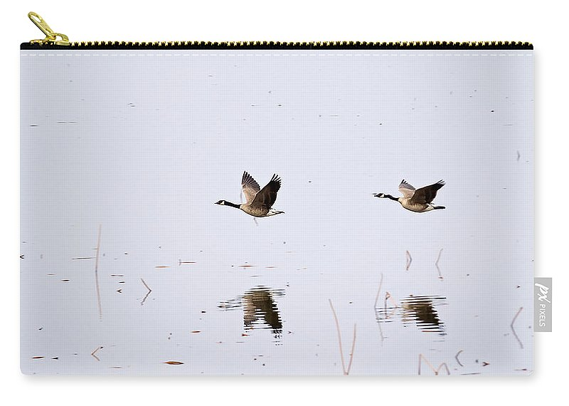 Geese Carry-all Pouch featuring the photograph Geese Reflections by Deb Buchanan