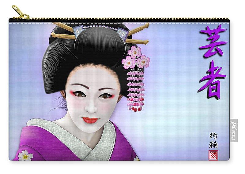 Geisha Art Carry-all Pouch featuring the digital art Geisha Girl by John Wills