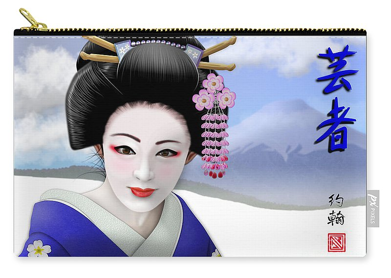 Geisha Art Carry-all Pouch featuring the digital art Geisha On Mount Fuji by John Wills