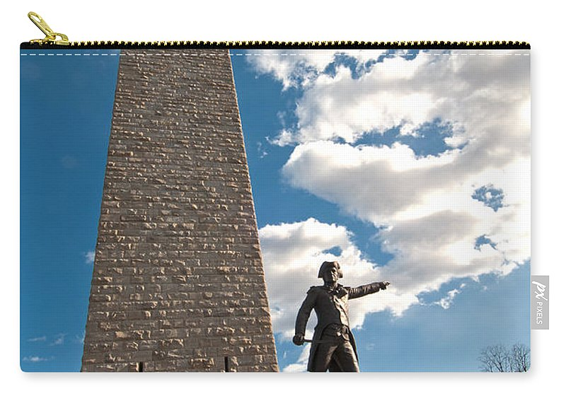 general John Stark At The Bennington Battle Monument Carry-all Pouch featuring the photograph Gen. John Stark At The Bennington Battle Monument by Paul Mangold
