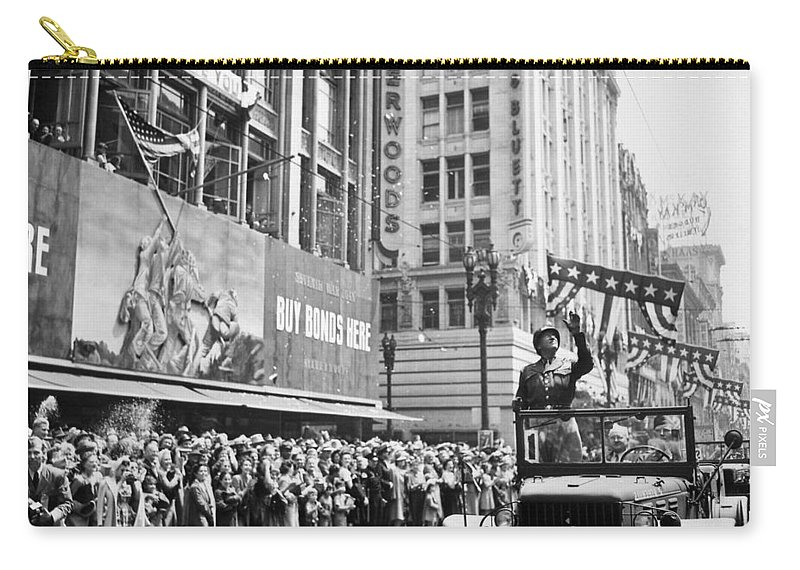 General Patton Carry-all Pouch featuring the photograph General Patton Ticker Tape Parade by War Is Hell Store