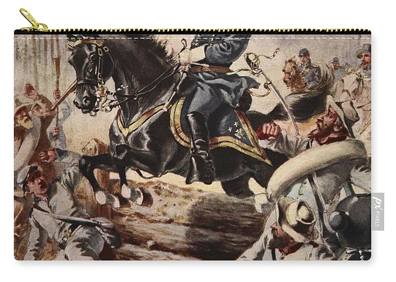 Male Carry-all Pouch featuring the drawing General Sheridan At The Battle Of Five by Henry Alexander Ogden