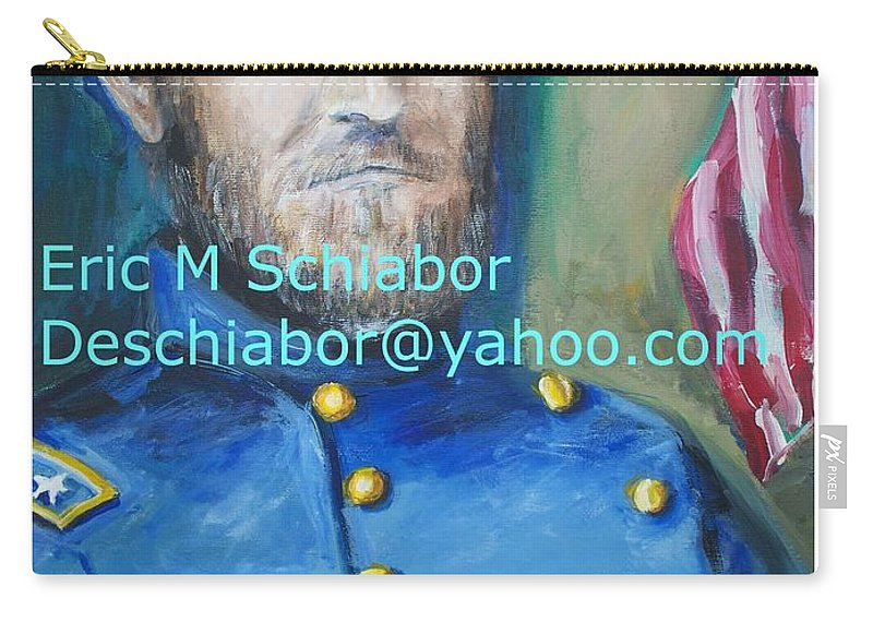 Grant Artwork Carry-all Pouch featuring the painting General Us Grant by Eric Schiabor
