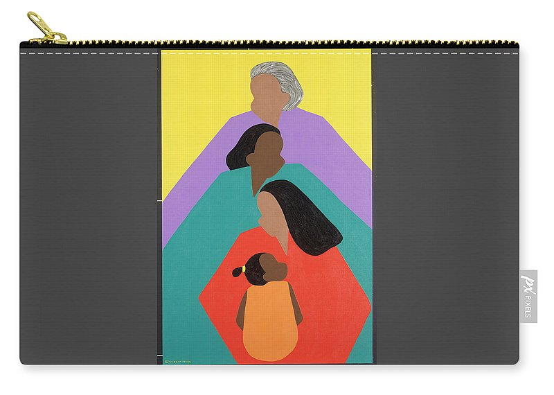 Commissioned Original Oil & Acrylic Carry-all Pouch featuring the painting Generations by Synthia SAINT JAMES