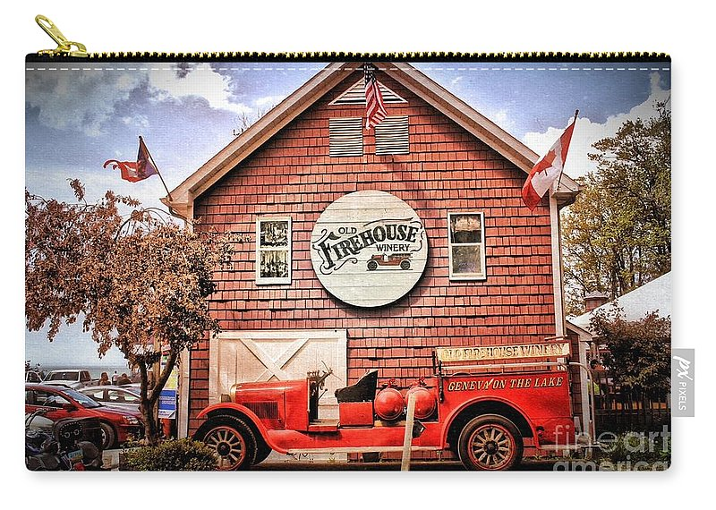 Geneva On The Lake Carry-all Pouch featuring the photograph Geneva On The Lake Firehouse by The Art of Alice Terrill