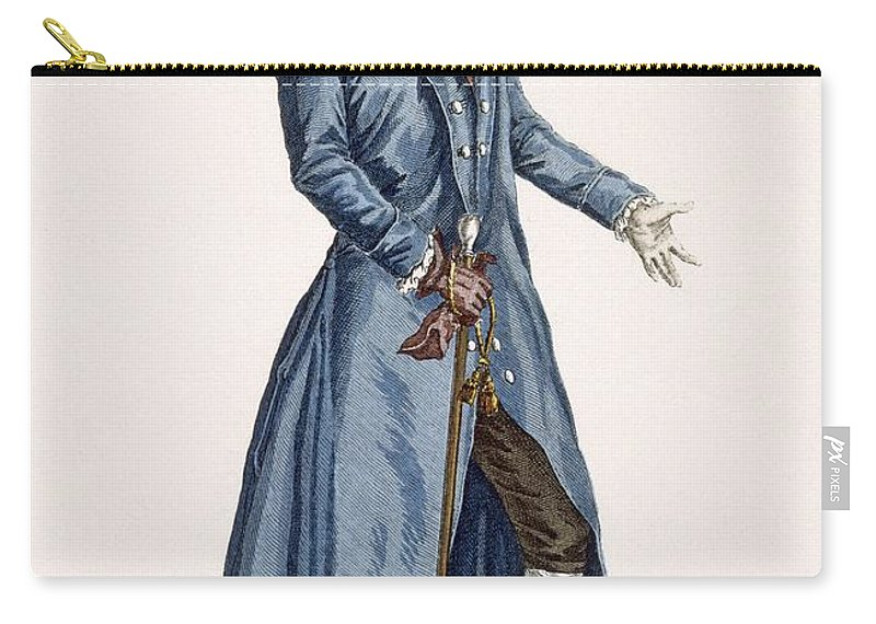 Clothing Carry-all Pouch featuring the drawing Gentleman In Blue Coat, Plate by Pierre Thomas Le Clerc