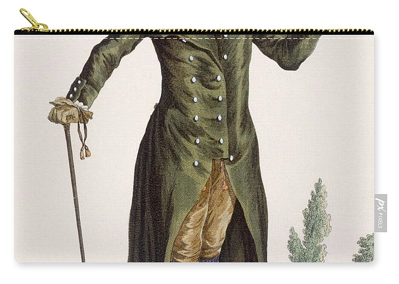 Clothing Carry-all Pouch featuring the drawing Gentleman In Green Coat, Plate by Pierre Thomas Le Clerc