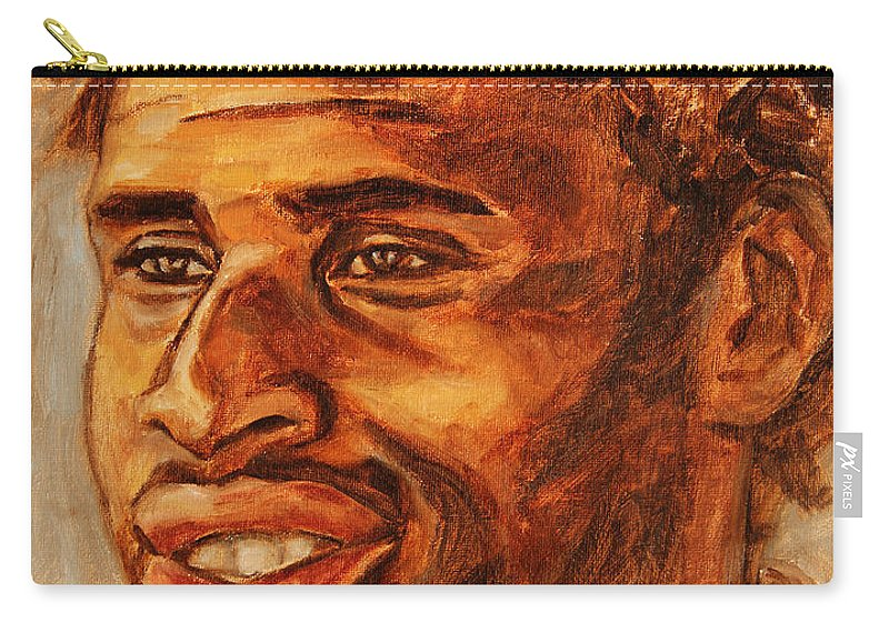 African Carry-all Pouch featuring the painting Gentleman With Goatee by Xueling Zou