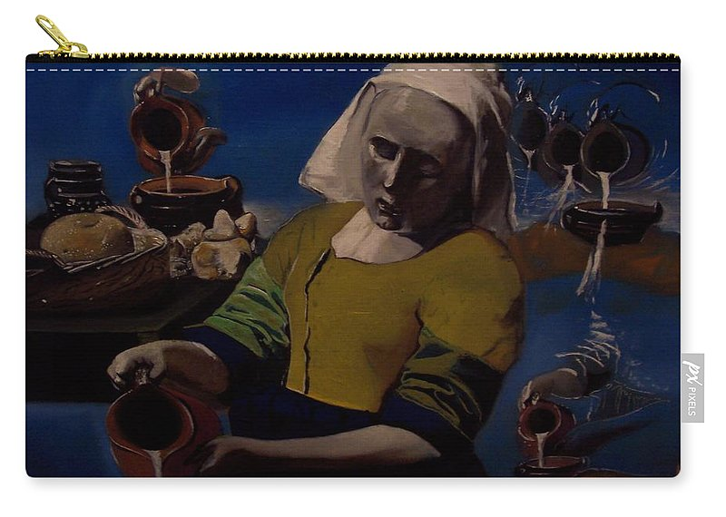 Carry-all Pouch featuring the painting Geological Milk Maid Anthropomorphasized by Jude Darrien