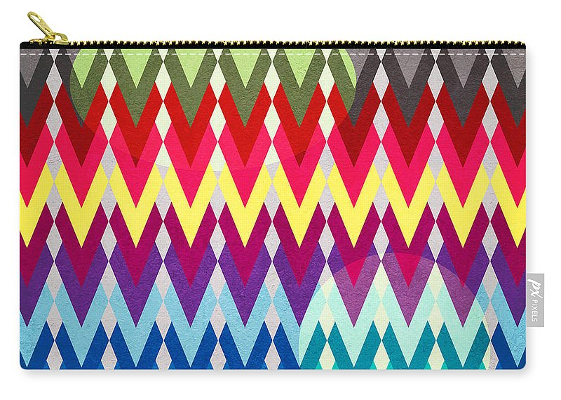 Contemporary Carry-all Pouch featuring the digital art Geometric Colors by Mark Ashkenazi