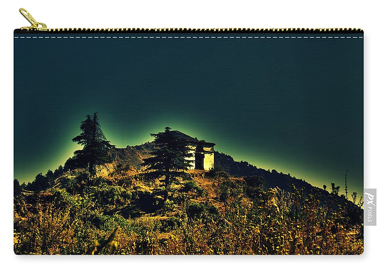 Wallpaper Buy Art Print Phone Case T-shirt Beautiful Duvet Case Pillow Tote Bags Shower Curtain Greeting Cards Mobile Phone Apple Android Nature Ruins Haunted Old House Abandoned Radha Bhavan British Mussoorie Mansion Palace Fort Mountain Hill Top Ghost Salman Ravish Khan Carry-all Pouch featuring the photograph George Everest Observatory by Salman Ravish