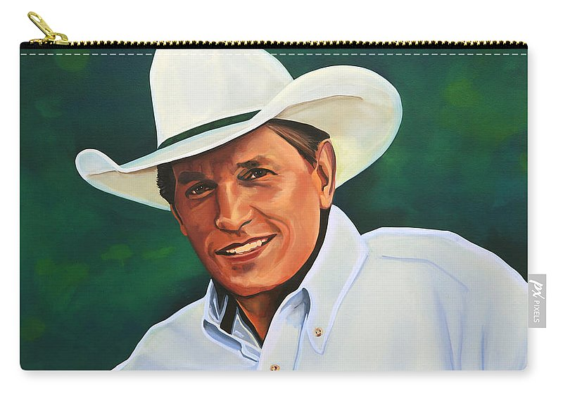George Strait Carry-all Pouch featuring the painting George Strait by Paul Meijering