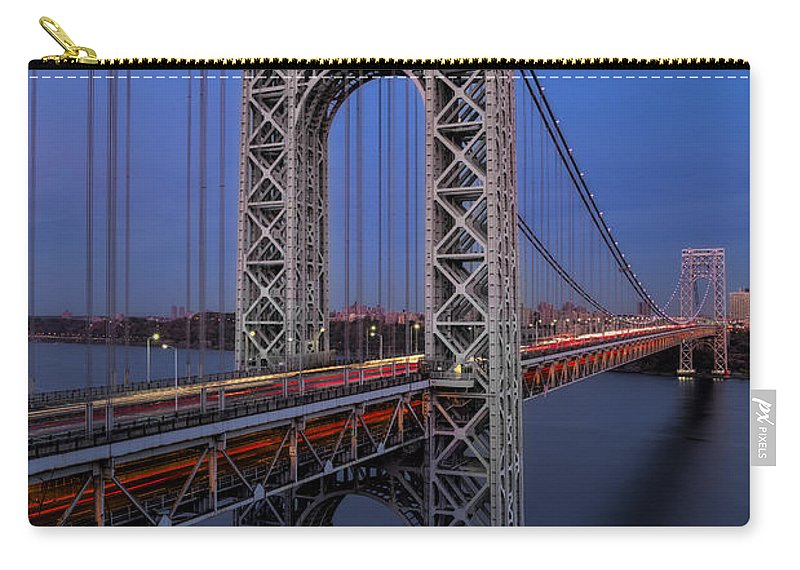 George Washington Bridge Carry-all Pouch featuring the photograph George Washington Bridge At Twilight by Susan Candelario