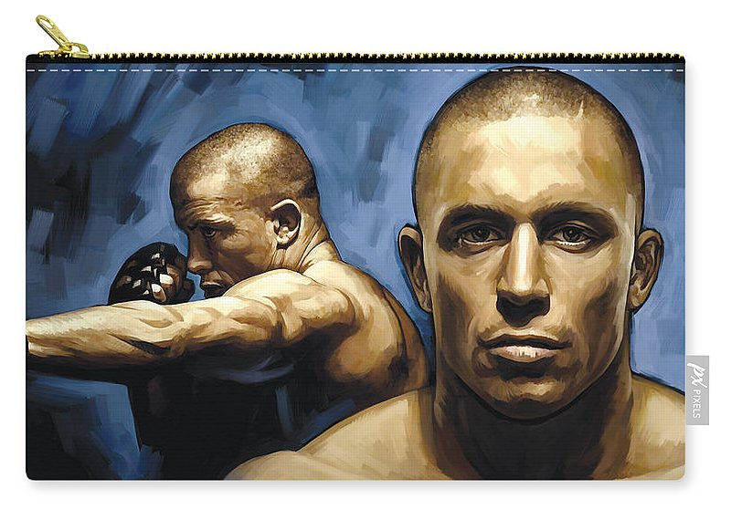 Georges St-pierre Paintings Carry-all Pouch featuring the painting Georges St-pierre Artwork by Sheraz A