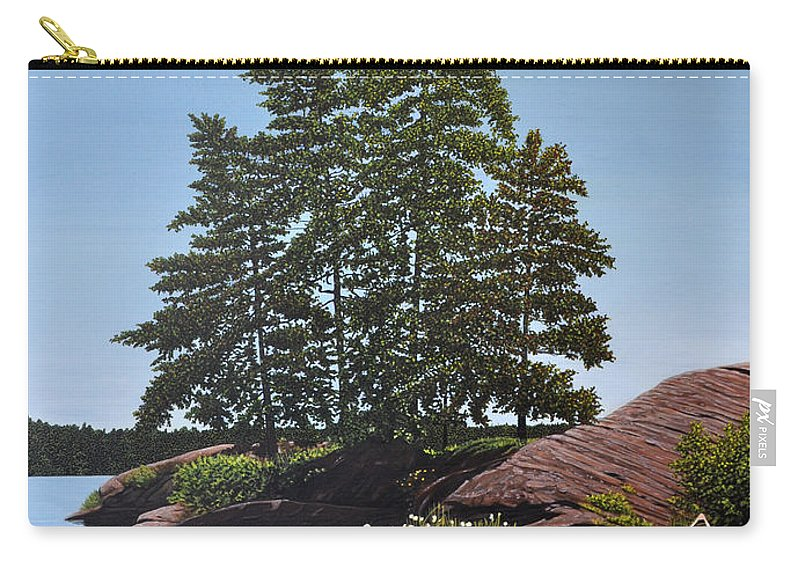 Landscapes Carry-all Pouch featuring the painting Georgian Bay Beached Canoe by Kenneth M Kirsch