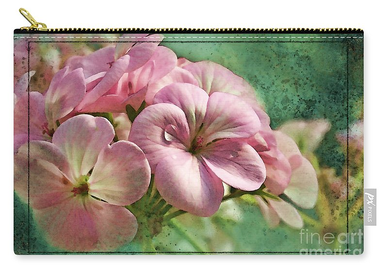 Nature Carry-all Pouch featuring the photograph Geranium Blossoms Photoart by Debbie Portwood