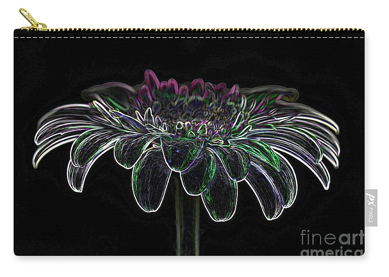 Pink Gerbera Flower Carry-all Pouch featuring the photograph Gerbera Glow 4 by Steve Purnell