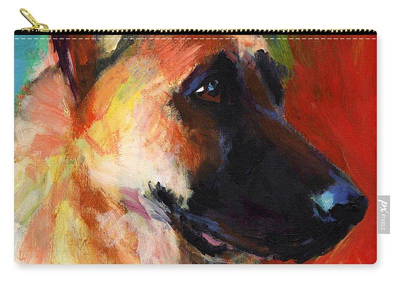 German Shepherd Carry-all Pouch featuring the painting German Shepherd Dog Portrait by Svetlana Novikova