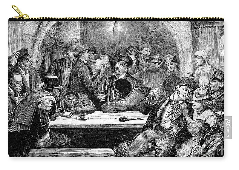 1875 Carry-all Pouch featuring the photograph Germany: Beer Cellar, 1875 by Granger