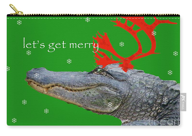 Alligator Carry-all Pouch featuring the digital art Get Merry by Lizi Beard-Ward