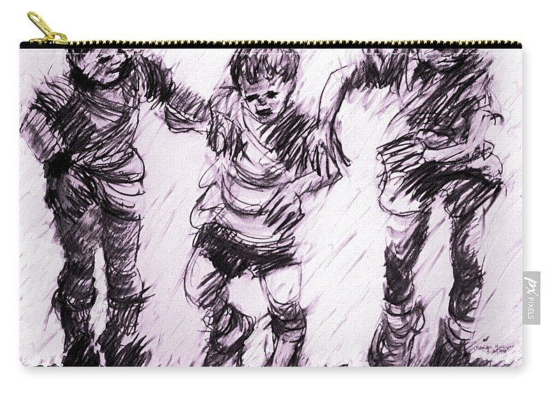 Racing Carry-all Pouch featuring the drawing Get Set - Go by Charles M Williams
