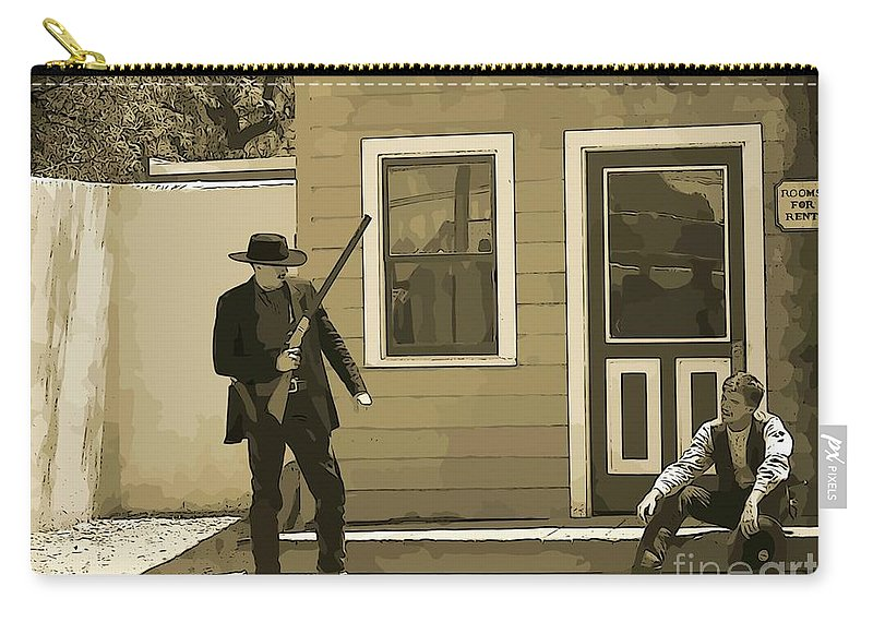 Gunslingers Carry-all Pouch featuring the photograph Get Up When Im Talkin Boy by John Malone