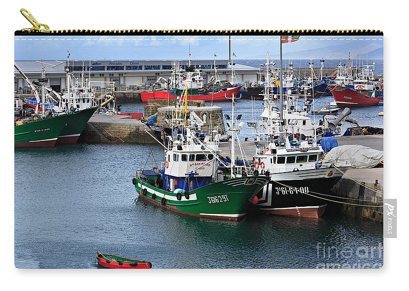 Getaria Carry-all Pouch featuring the photograph Getaria Fishing Fleet by Louise Heusinkveld