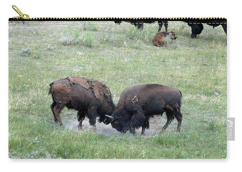 Bison Carry-all Pouch featuring the photograph Getting Rough by Laurel Powell