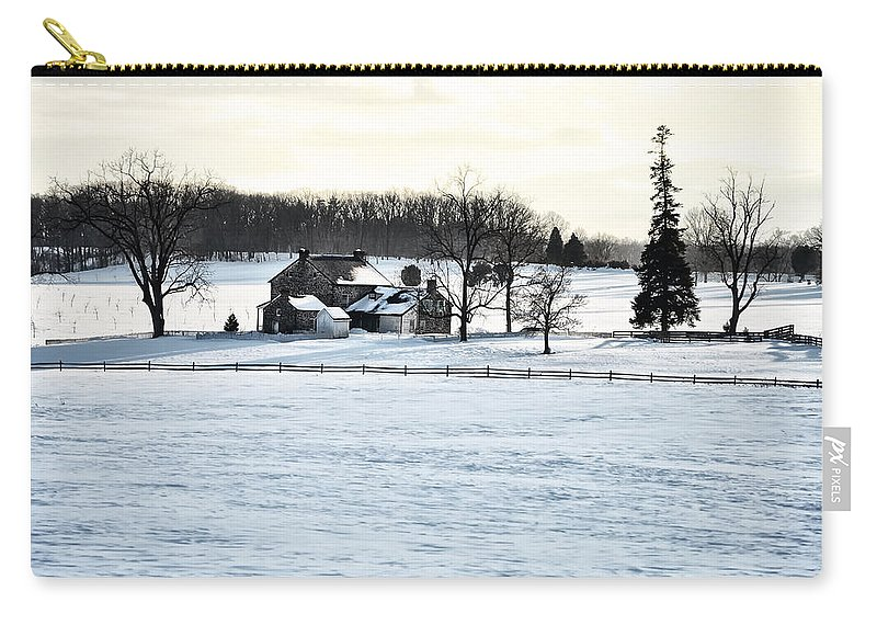 Gettysburg Carry-all Pouch featuring the photograph Gettysburg Farm In The Snow by Bill Cannon