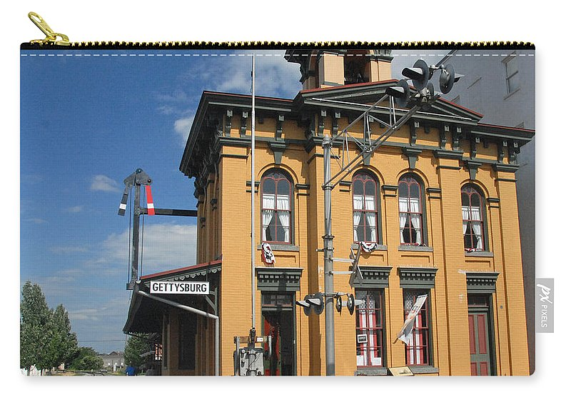 History Carry-all Pouch featuring the photograph Gettysburg Train Station by Cindy Manero