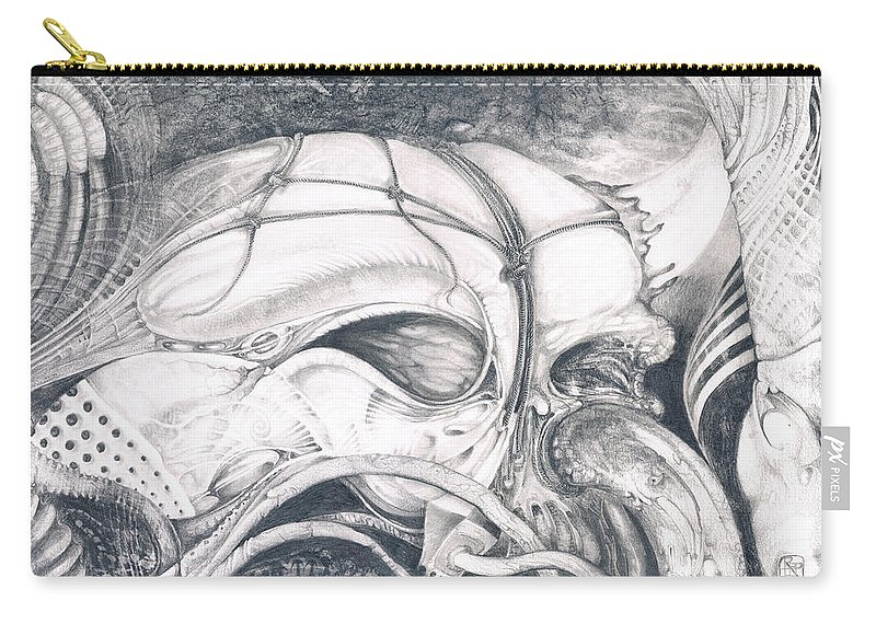 ghost In The Machine Surrealism Carry-all Pouch featuring the drawing Ghost In The Machine by Otto Rapp