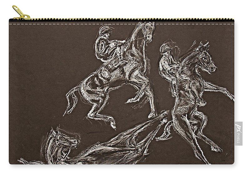 Rearing Horse Carry-all Pouch featuring the drawing Ghost Riders In The Sky by Tom Conway