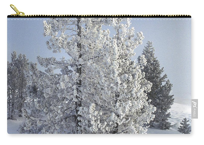 Yellowstone Carry-all Pouch featuring the photograph Ghost Trees Of Yellowstone by Sandra Bronstein