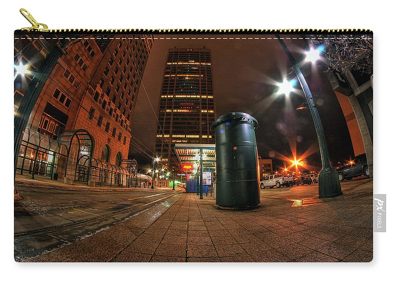 Carry-all Pouch featuring the photograph Giant Christmas Tree On Hsbc Tower by Michael Frank Jr