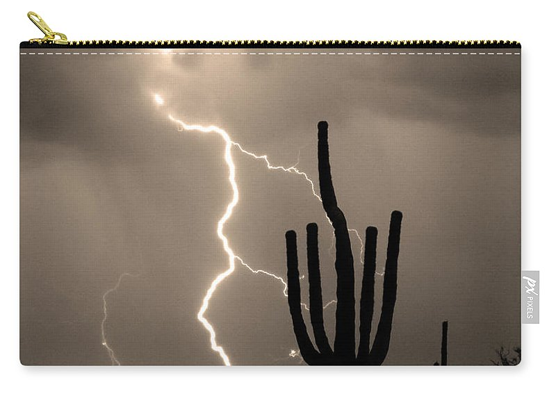 Weather Carry-all Pouch featuring the photograph Giant Saguaro Cactus Lightning Strike Sepia by James BO Insogna