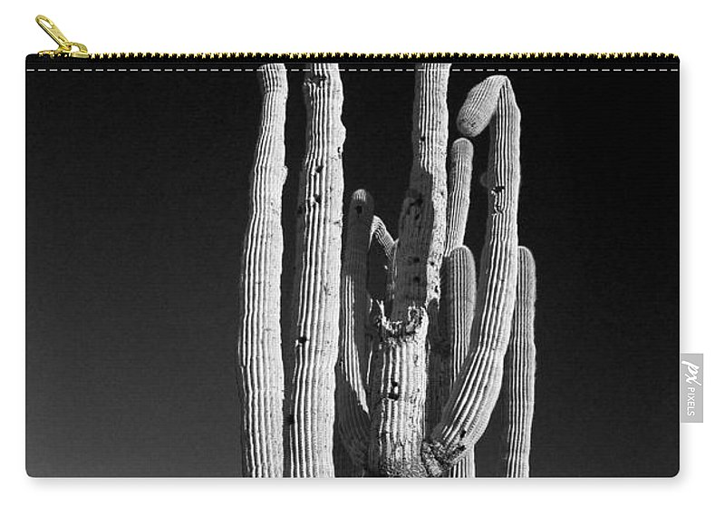 Giant Carry-all Pouch featuring the photograph Giant Saguaro Cactus Portrait In Black And White by James BO Insogna