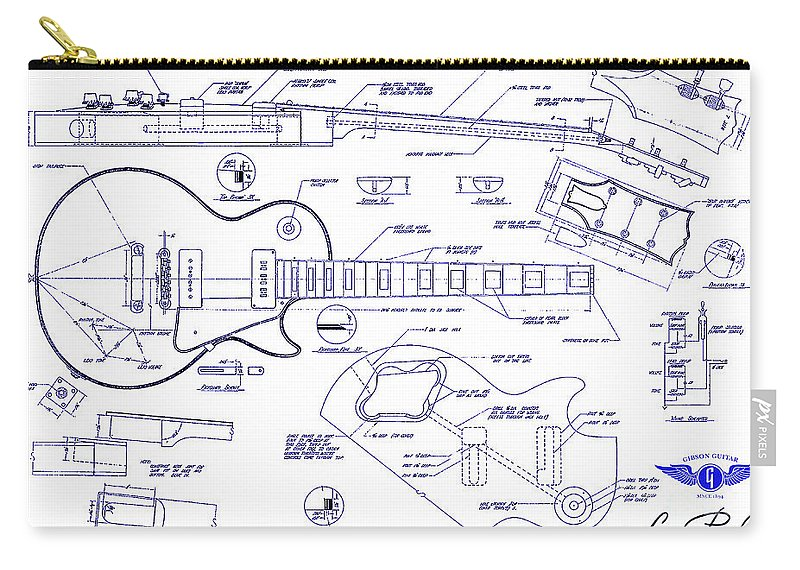Gibson les paul blueprint drawing carry all pouch for sale by jon les paul blueprint carry all pouch featuring the drawing gibson les paul blueprint drawing by malvernweather Choice Image