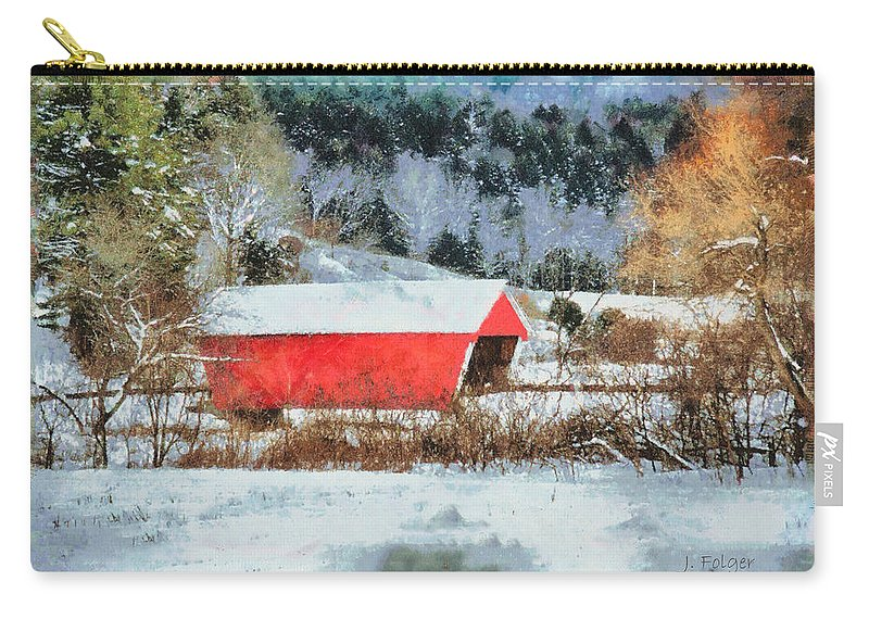 Covered Bridge-gifford Bridge Vermont By Jeff Folger Carry-all Pouch featuring the photograph Gifford Covered Bridge In Winter by Jeff Folger