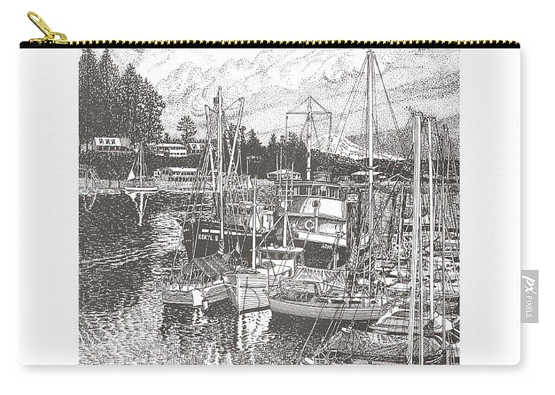Yacht Portraits Carry-all Pouch featuring the drawing Gig Harbor Entrance by Jack Pumphrey