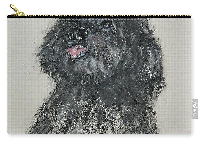 Poodle Carry-all Pouch featuring the drawing Gigi by Cori Solomon