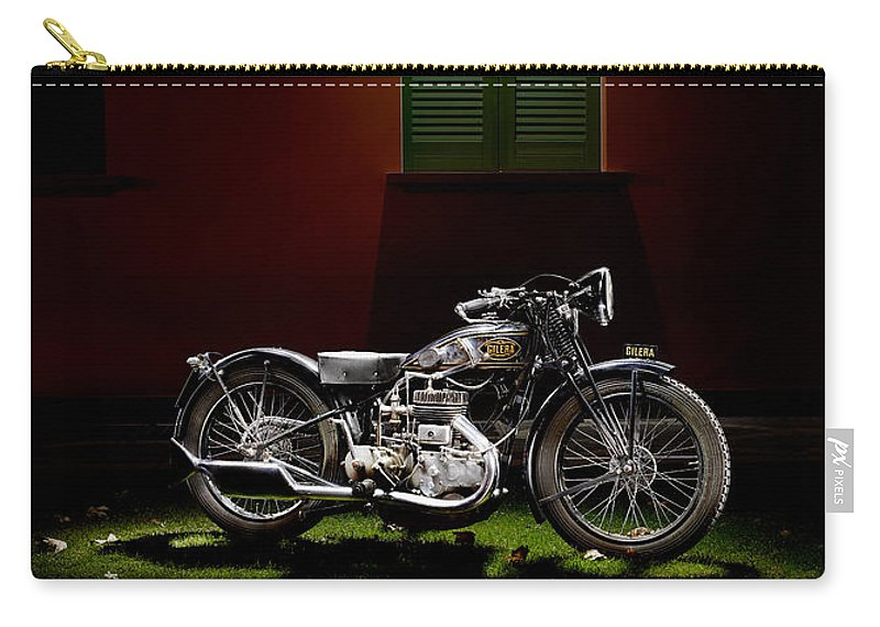 Motorcycle Carry-all Pouch featuring the photograph Gilera Vl Lusso And Italian House by Frank Kletschkus
